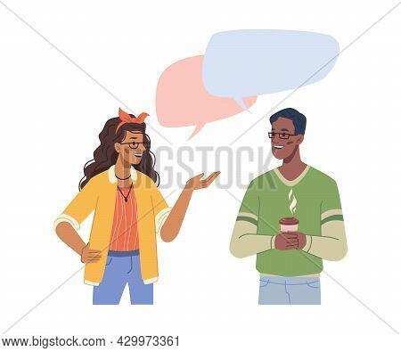 Man Woman Multiethnic People Talking, Speech Bubbles Over Head, Flat Cartoon Characters. Vector Comm