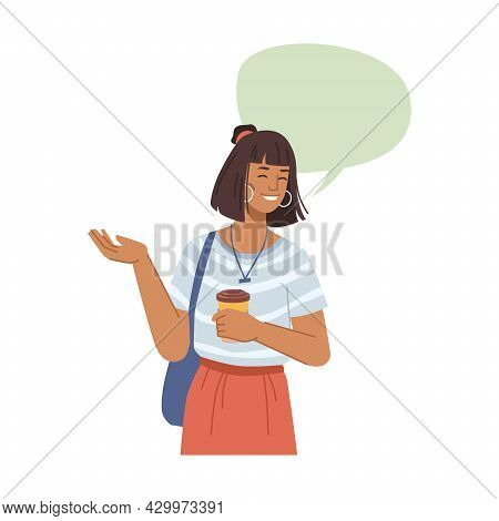 Speech Bubble Balloon And Happy Smiling Woman With Cup Of Coffee, Flat Cartoon Design Illustration.