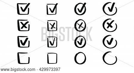 Hand Drawn Checkmark Set. Correct And Incorrect Symbol. Cross Symbol. Accept Sign. Check Mark In Doo