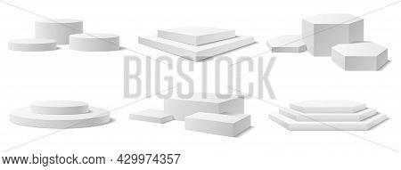 Realistic 3d Podium, Winner Pedestal, Circle Display Stage. White Empty Museum Exhibition Pillars, S