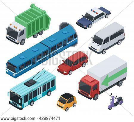 Isometric 3d Public Transport And City Vehicle Car, Truck. Urban Transportation Van, Subway Train, P