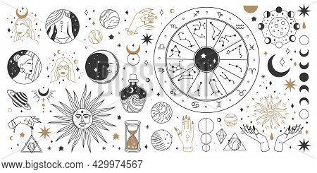 Mystical Astrology, Boho Celestial And Magic Occult Elements. Sacred Mystic Moon, Sun, Star, Zodiac
