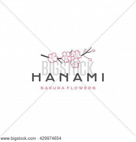 Sakura Logo Vector Illustration, Japanese Flower Cherry Blossom Logo Design