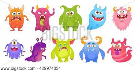 Cute Monster Characters Smiling, Funny Aliens And Creatures. Cartoon Goblin, Ghost, Alien. Scary Mon
