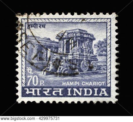 ZAGREB, CROATIA - SEPTEMBER 13, 2014: Stamp printed in India shows Carved Stone Chariot, Vittala Temple Complex in Hampi, Karnataka, circa 1967