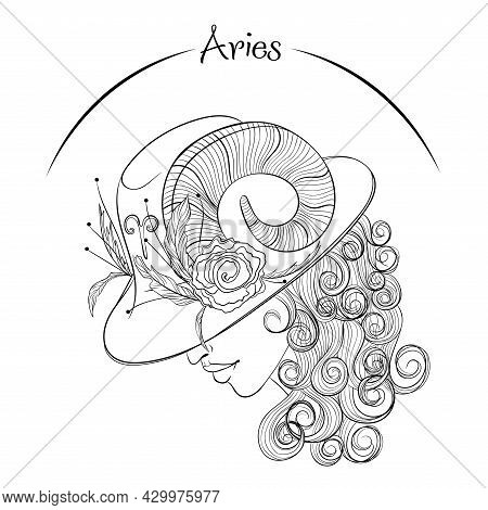 Zodiac. Vector Illustration Of The Astrological Sign Of Aries As A Beautiful Fashion Girl In Hat. Li