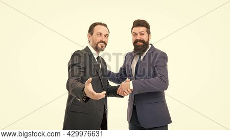 Business Team. Business People Concept. Men Bearded Wear Formal Suits. Well Groomed Business Men. Pa