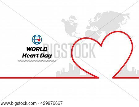 Minimal Line World Map And City Background. World Heart Day Continuous Line Drawing, Vector Illustra
