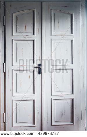 Vintage White Double Doors Inside House. Classic Wooden Door. Entrance Interior Double Door.