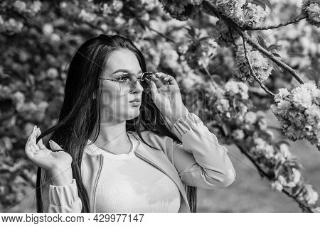 Woman Fancy Sunglasses In Spring Flower Bloom. Girl In Cherry Blossom Flower. Spring Fashion Collect