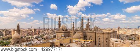 A Panoramic Shot Of Minarets And Domes Of Sultan Hasan Mosque And Al Rifai Mosque In Cairo, Egypt