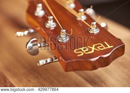Buenos Aires, Argentina; July 18, 2021, Texas Guitar Headstock. Close-up Horizontal Image With Selec