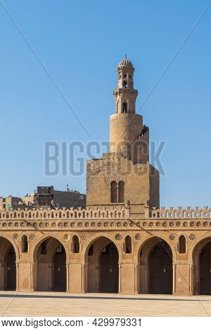 A Vertical Shot Of A Spiral Minaret Of Ibn Tulun Mosque In Cairo, Egypt