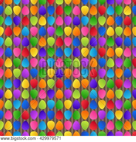 Bright Abstract Seamless Pattern Of Colorful Rainbow Figures Ellipses On Striped Brown Backdrop For