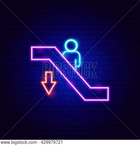 Escalator Down Neon Sign. Vector Illustration Of Moving Stairs Promotion.