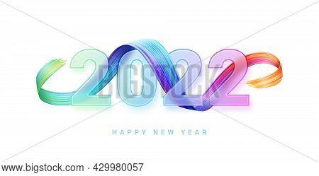 Happy New Year Gradient Glass Numbers, Blur, Multicolored Brushstroke, Glassmorphism Greeting Card D