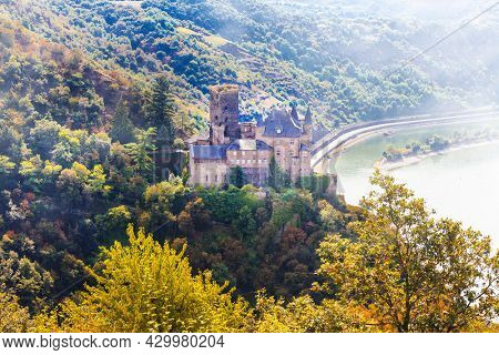 Romantic beautiful castles of Germany . River cruises. View of Katz castle overlooking the Rhine River above the town of St. Goarshausen?.