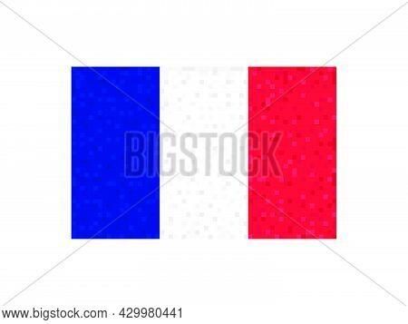 France Flag Pixel Art. 8-bit France Flag Sign. Design For A Festive Banner And Poster. Vector Illust