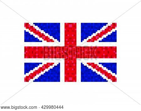 Flag Of Great Britain Pixel Art. 8-bit Great Britain Flag Sign. Design For A Festive Banner And Post