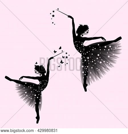 Graceful Ballerina Girl With Transparent Tutu Dress, Royal Crown And Magic Wand Standing On Pointe S