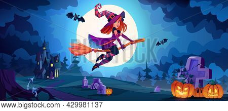 Halloween Night Landscape With Witch Flying On Broomstick Above Cemetery With Tombstones And Pumpkin