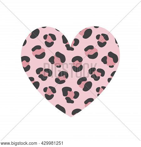 Vector Hand Drawn Flat Pink Heart With Leopard Cheetah Fur Print Isolated On White Background