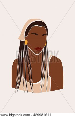 Portrait Of Faceless Woman In Beautiful Hat. Abstract Black Girl. African Female. Trendy Minimal Vec