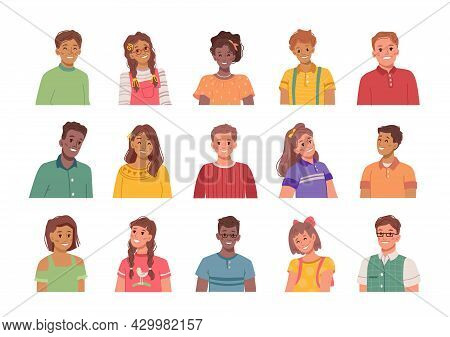 Portraits Of Smiling And Happy Children, Isolated Boys And Girls. Avatars Of Kids, Male And Female P