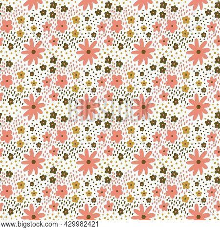 Ditsy Floral Vector Seamless Pattern. Small Pink Green Meadow Flowers On White Background. Tiny Wild