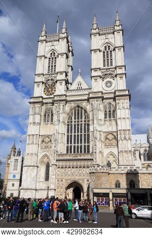 London, Uk - May 13, 2012: People Visit Westminster Abbey In London. It Is Listed As A Unesco World