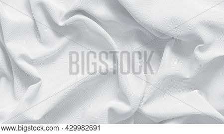 Blank White Crumpled Fabric Material Mock Up, Top View, 3d Rendering. Empty Softness Silk Or Canvas