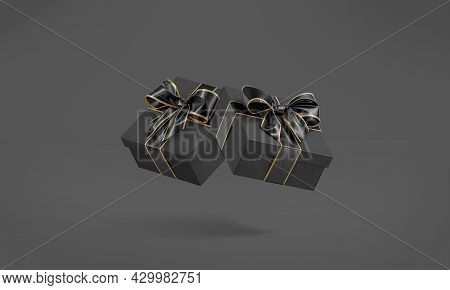 Blank Black Gift Box With Golden Ribbon Mockup, No Gravity, 3d Rendering. Empty Vclosed Decorative C
