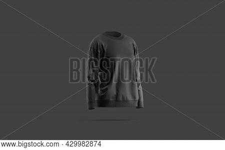 Blank Black Women Sweatshirt Mockup, Dark Background, 3d Rendering. Empty Female Tolstovka Or Hoodie