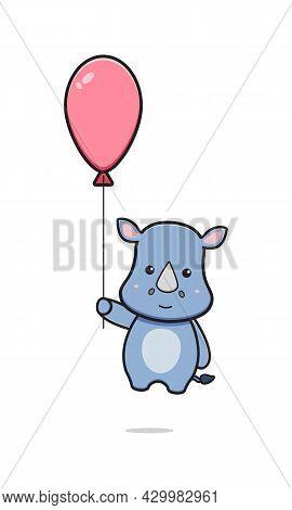 Cute Rhino Holding Balloon Cartoon Icon Illustration. Design Isolated Flat Cartoon Style