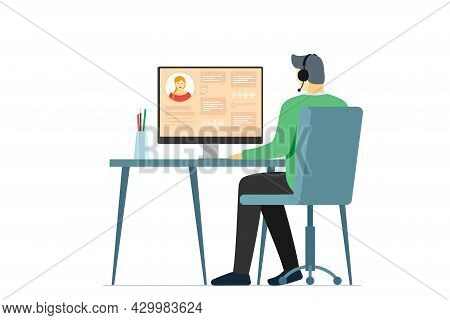 Call Center Operator Man And User Information On Monitor Screen. Male Hotline Or Cold Calling Employ
