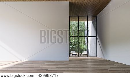 Empty Room With Blank White Wall And Green Wall Garden Background 3d Render
