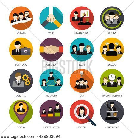 Human Resources Flat Icons Set With Office Hierarchy Team Management People Rotation Isolated Vector