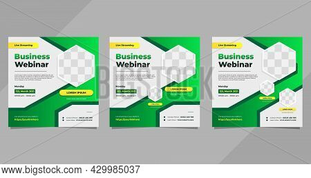 Set Of Business Webinar Social Media Post Template With Green Gradient Background And Hexagon Frame