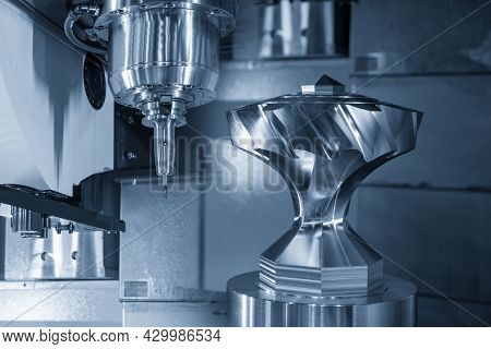 The 5-axis  Machining Center Cutting The Metal Gear Parts With Solid Ball End Mill Type. The Hi-prec