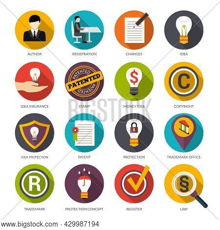 Patent Idea Protection Flat Icons Set With Author Trademark Copyright Symbols Isolated Vector Illust
