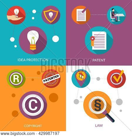 Patent Idea Protection Design Concept Set With Copyright And Law Flat Icons Isolated Vector Illustra