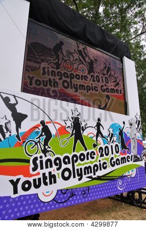 Projector Screen Showing 2010 Youth Olympic Games