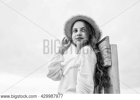 Be Your Own Label. Good Weather. Stylish Kid Wear Straw Hat. Fashion For Kids. Child Beauty Concept.