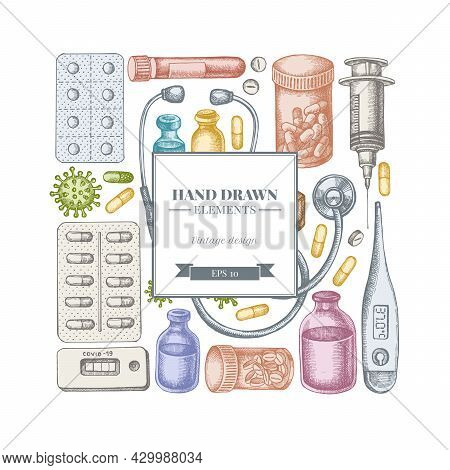 Square Design With Pastel Vial Of Blood, Pills And Medicines, Medical Thermometer, Coronavirus Rapid