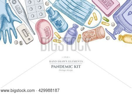 Design With Pastel Colored Pills And Medicines, Medical Face Mask, Sanitizer Bottles, Medical Thermo