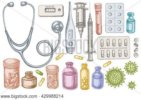 Vector Set Of Hand Drawn Pastel Vial Of Blood, Pills And Medicines, Medical Thermometer, Coronavirus