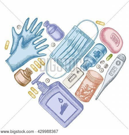 Heart Design With Pastel Pills And Medicines, Medical Face Mask, Sanitizer Bottles, Medical Thermome