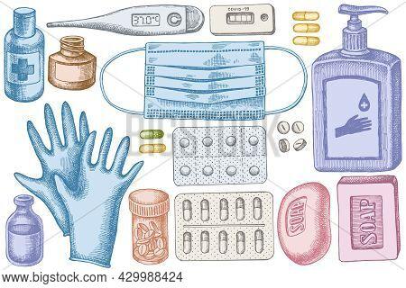 Vector Set Of Hand Drawn Pastel Pills And Medicines, Medical Face Mask, Sanitizer Bottles, Medical T
