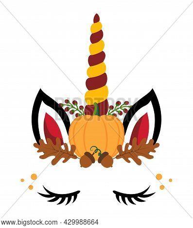 Unicorn Flower Headband Wreath, Unicorn Head With Flower Crown, Unicorn Face. Vector Illustration Fo