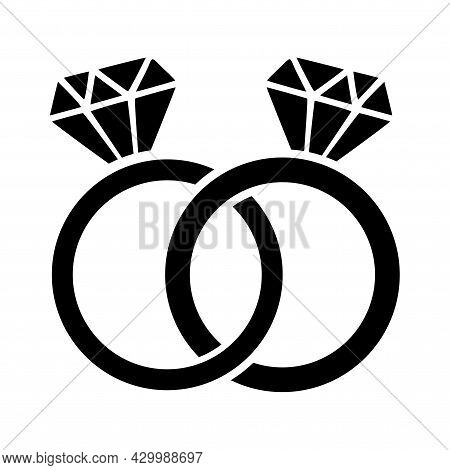 Wedding Engagement Ring Pair With Two Woman Rings - Diamond Rings For Greeting Cards, Gift Tags, Lab